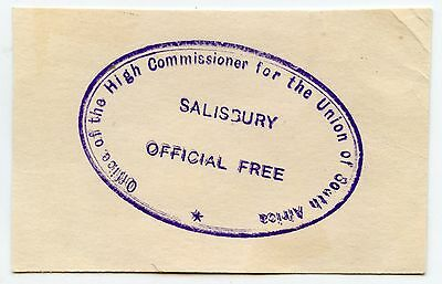 RHODESIA c1930 OFFICIAL PAID LARGE OVAL HANDSTAMP on PIECE HIGH COMMISSIONER