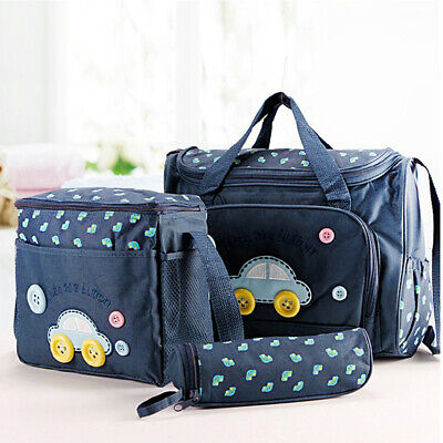 4Pcs/set Mummy Travel Baby Nappy Changing Bags Multifunctional Shoulder Blue