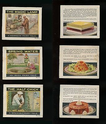 Three Recipe Card No.10 11 & 12 1920s Jell-O FAIRY TALE Hebrew Irish Spanish