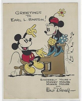 Early 1930's Disney Mickey and Minnie Mouse, Piano Music Fan Card