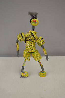 Doll African Yellow Recycled Bottle Cap Folk Art Figure Vintage Doll