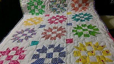 Handcrafted Handmade Girl Sister Choice Multi Color Baby Crib Lap Throw Quilt