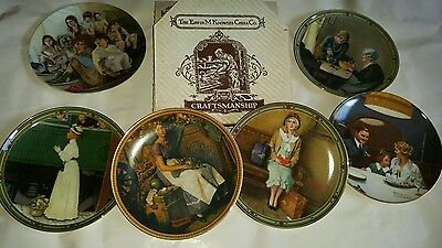 lot of 6 Knowles collectible china plates Norman Rockwell prints, mint w/cert