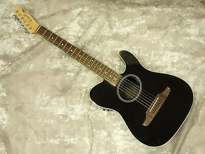Fender TELECOUSTIC BLACK w/soft case F/S Guiter Bass From JAPAN #X1220