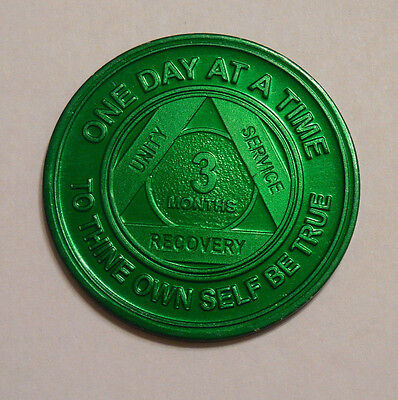 aa aluminum alcoholics anonymous 3 month sobriety chip coin token medallion