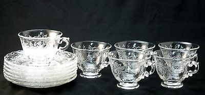 Fostoria Glass Crystal Cups Saucers 2630 Heather Pattern Etched 343 Lot of 6