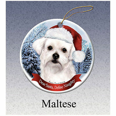 Maltese Howliday Porcelain China Dog Christmas Ornament