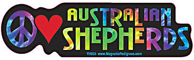 Peace Love Australian Shepherd Tie Dye Hippie Dog Car Decal Sticker