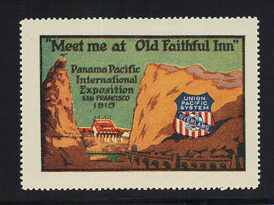 1915 Pan Pacific Expo PPIE Union Pacific Railroad Old Faithful Inn Poster Stamp