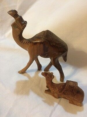 2 Unique Hand Crafted Wooden Camels Very Detailed With The Markings Rare