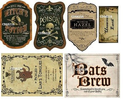 6 Halloween Witch Wicca Spell Magic Potion Bottle Poison Sticker Labels B