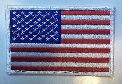 "AMERICAN FLAG EMBROIDERED PATCH WHITE BORDER US UNITED STATES 3.5""  free ship"