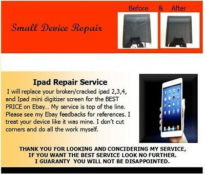 Ipad Mini 1-2 Broken Cracked Screen REPAIR SERVICE , High quality replacement