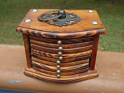 Lovely Vintage Timber & Cork Drink Coasters x 8 *Timber Box with Brass Fittings