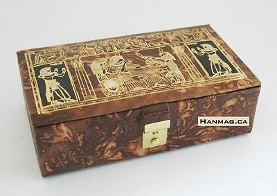 """8½x5"""" Egyptian Genuine Camel Leather Jewelry Box + Lock and Key + 2 Levels #142"""