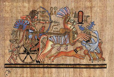 """Egyptian Papyrus Painting Tutankhamen Hunting Ostriches 7X9"""" + Hand Painted #34"""