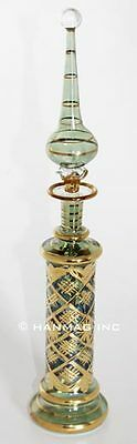 "13½"" Egyptian Glass Perfume Bottle + 24K Gold Plated + Handmade #K1002 Green"