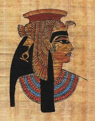 "Egyptian Papyrus Painting - Cleopatra 7X9"" + Hand Painted + FREE Description #98"