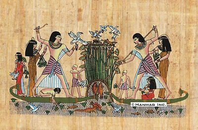 """Egyptian Papyrus Painting - Hunting and Fishing 8X12"""" + Hand Painted #86"""