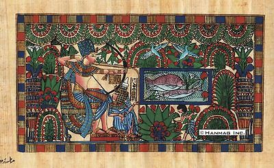 """Egyptian Papyrus Painting - King Tut and wife hunting 8X12"""" + Hand Painted #39"""
