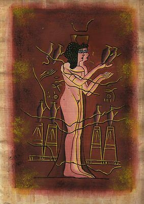 "Egyptian Papyrus Painting - Slaves of Pharaoh 8X12"" + Hand Painted #16"