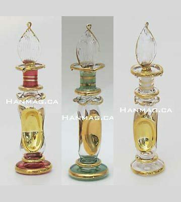 Choose 3 Egyptian Glass Perfume Bottles 6 Colors #745