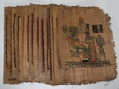 "Lot of 48 Dark Egyptian Papyrus Paintings 8X12"" Assorted Scenes + Hand Painted"