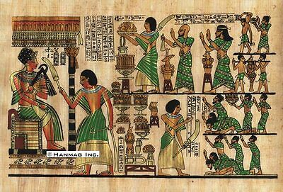 """Egyptian Papyrus Painting - King Tut & Asians 8X12"""" + Hand Painted #60"""