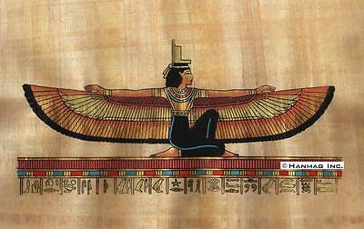 "Egyptian Papyrus Painting - Winged Maat 8X12"" + Hand Painted #93"