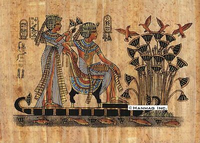 "Egyptian Papyrus Painting - King Tut on Boat 8X12"" + Hand Painted #35"