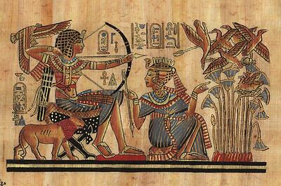 "Egyptian Papyrus Painting King Tut Hunting 7X9"" + Hand Painted + Description #32"
