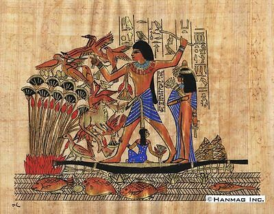 "Egyptian Papyrus Painting - Nebamum's family hunting 8X12"" + Hand Painted #81"