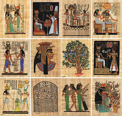 "Lot of 50 Egyptian Papyrus Paintings 7X9""  Over 100 Hand-painted Assorted Scenes"
