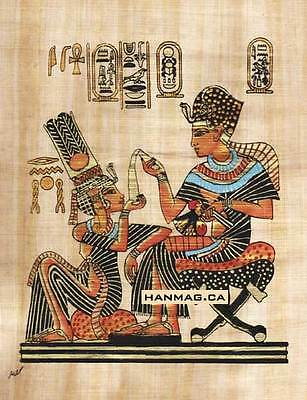 Egyptian Papyrus Art Painting - King Tut & wife #44