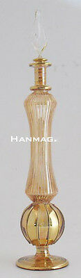 "11"" Egyptian Glass Perfume Bottle + 24K Gold #F771 AMB One of a kind Handcrafted"