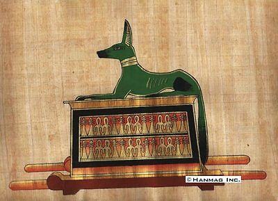 "Egyptian Papyrus Painting - Anubis 8X12"" + Hand Painted + Free Description #36"