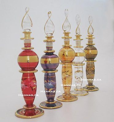 "Set of Six 6"" Egyptian Glass Art Perfume Bottle Handmade + 24K Gold Plated"