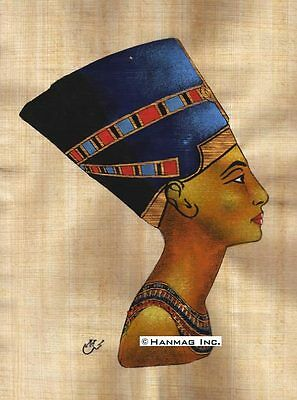 "Egyptian Papyrus Painting - Queen Nefertiti 8X12"" + Hand Painted #22"