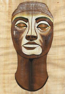 "Egyptian Papyrus Painting - Statue of Nefertiti 8X12"" + Hand Painted #21"