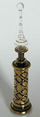 "13½"" Egyptian Glass Perfume Bottle + 24K Gold Plated + Handmade #K1002 Blue"