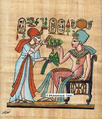"Egyptian Papyrus Painting - Tutankhamen and his wife 8X12"" + Hand Painted #45"