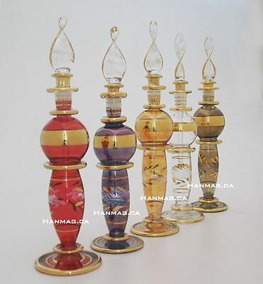 "One 6"" Egyptian Glass Art Perfume Bottle Handmade + 24K Gold Plated AA#796"