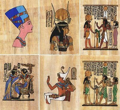 "6 Egyptian Papyrus Paintings 3X4"" + Assorted Scenes + Hand Painted"