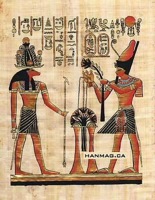 "Egyptian Papyrus Painting - Khanom and Ramsis II 7X9"" + Hand Painted #56"