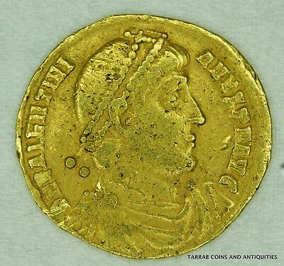 Ancient Roman Gold Coin; Valentinian I 364-375 A.d. Fine Coin!