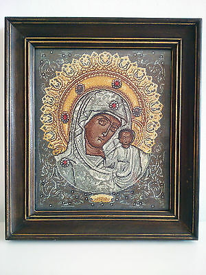 High Quality Handmade 'Our Lady of Kazan' Mother of God Tapestry Gobelin Icon