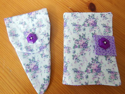 Hand Made New Sewing Needle Case 6 Felt Pages & Matching Scissor Case Floral