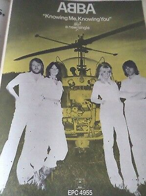 "Abba  ""knowing Me Knowing You"" Advert From 1977 Full Page A3 Nice Condition"
