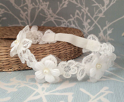 Lace baby headband light ivory hair band baptism christening wedding flower girl