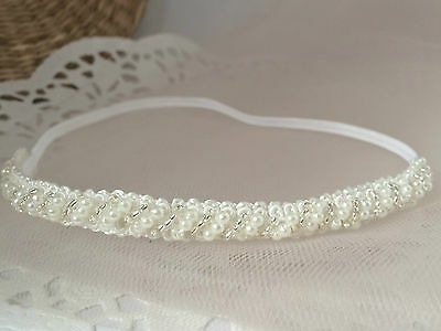 Rhinestone Baby Headband for christening white skinny pearl hair band handmade